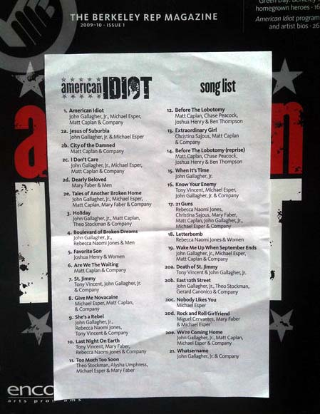 American Idiot Song List