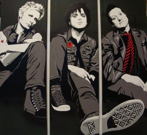Green Day Triptych - Painting by Kerry Harris